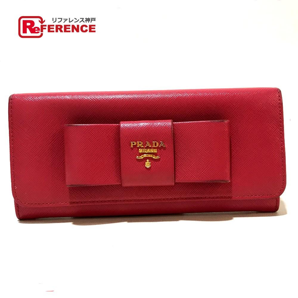 PRADA プラダ 1MH132 長財布 リボンモチーフ サフィアーノ 二つ折り財布(小銭入れあり) レザー ピンク レディース【中古】