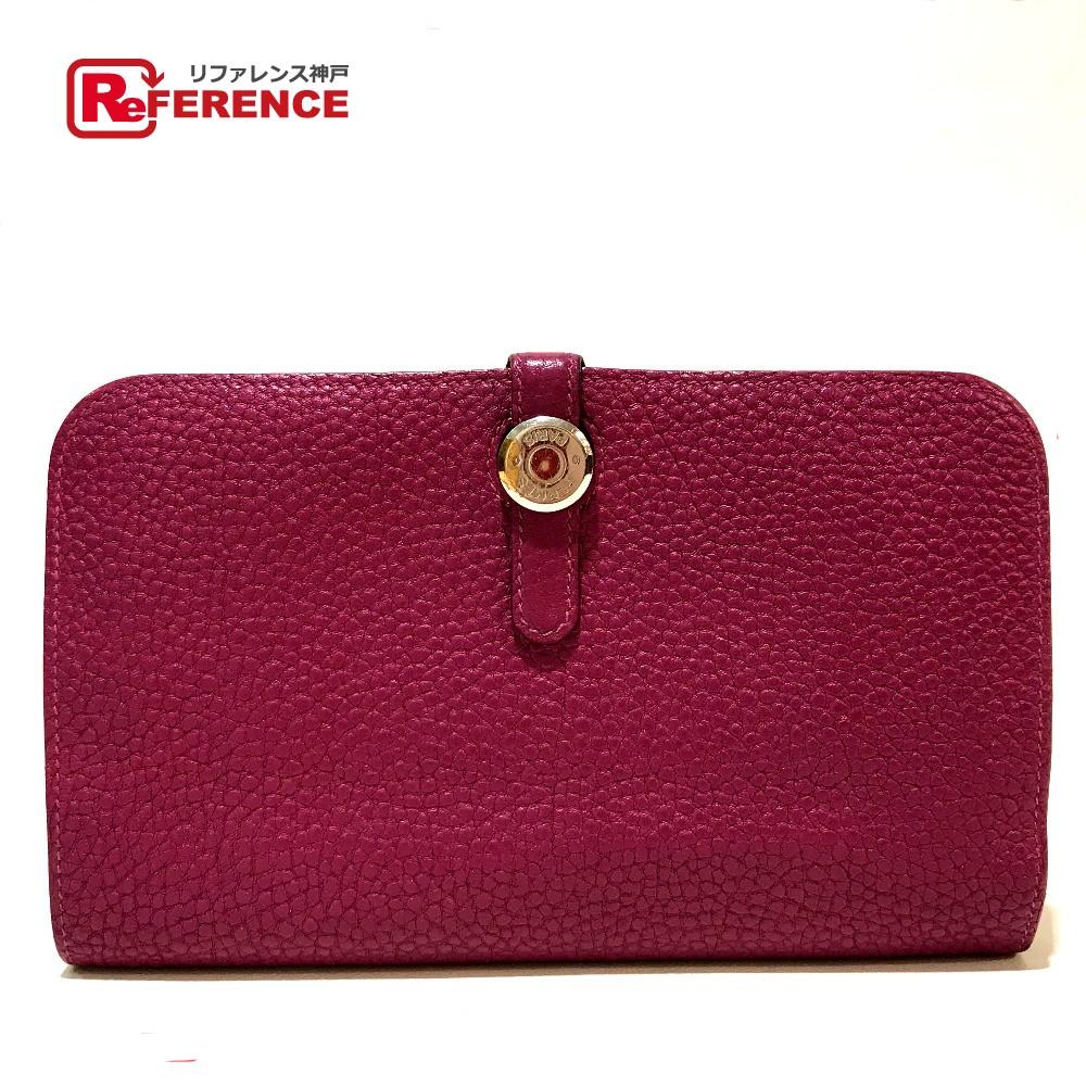 HERMES エルメス 長財布 ドゴンGM コインケース付き 二つ折り財布(小銭入れあり) トゴ ルビー レディース【中古】