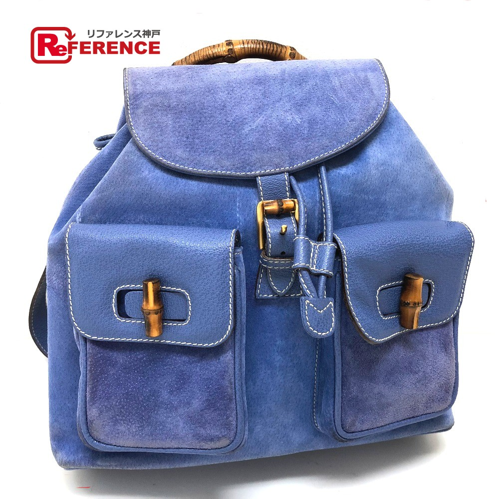 6d69667b8e296f AUTHENTIC GUCCI Bamboo Backpack Backpack Backpack-Bag Blue Based Suede x  Leather/
