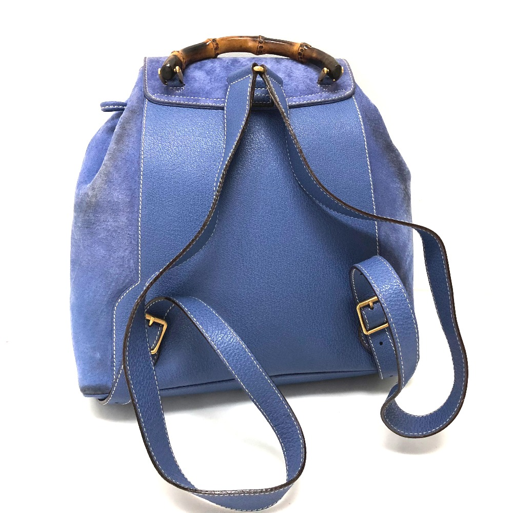AUTHENTIC GUCCI Bamboo Backpack Backpack Backpack-Bag Blue Based Suede x  Leather  eabfc606663c9
