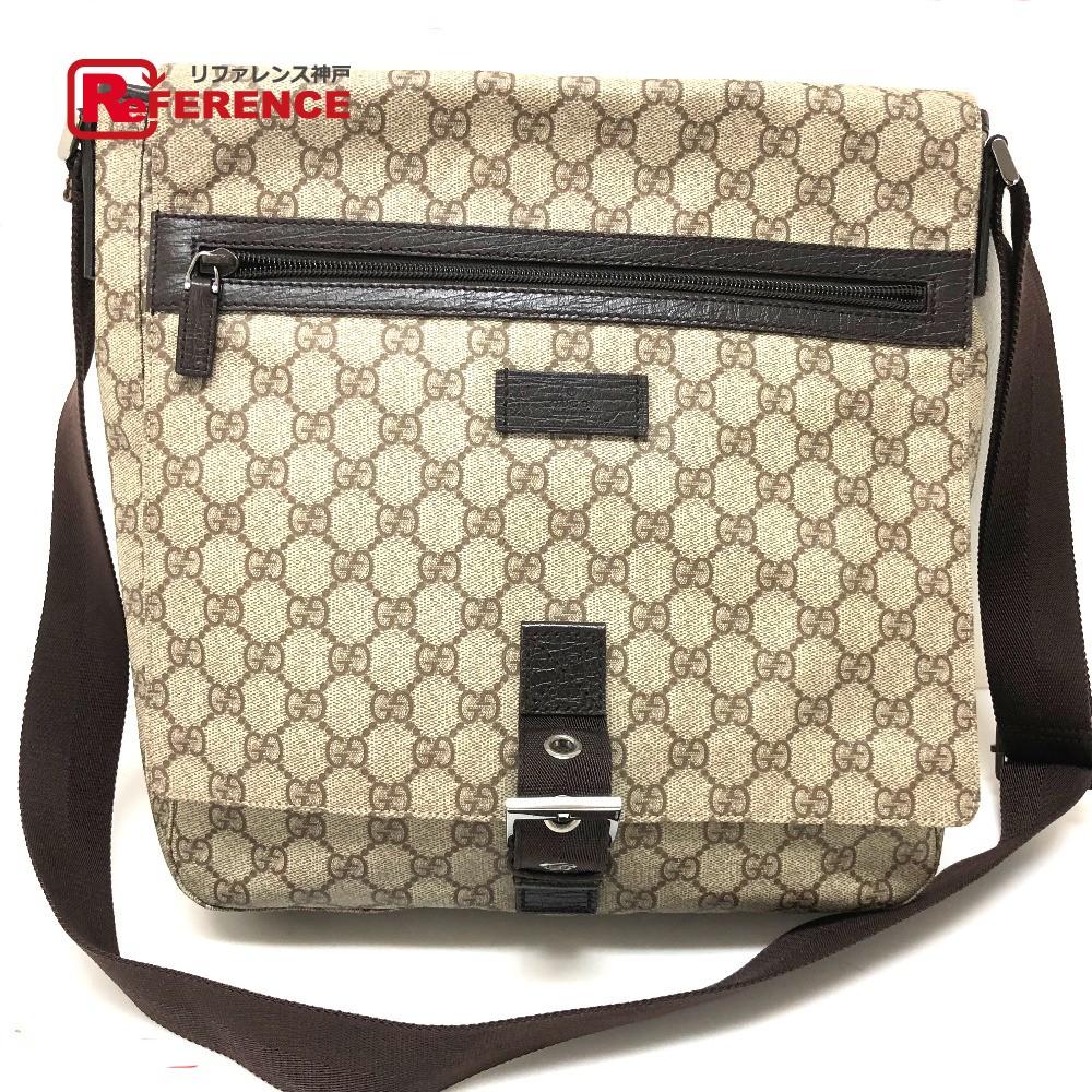 AUTHENTIC GUCCI Old Gucci GG Plus Crossbody Bag Messenger Bag Shoulder Bag  Beige PVC x Leather  141194 045155b85af99
