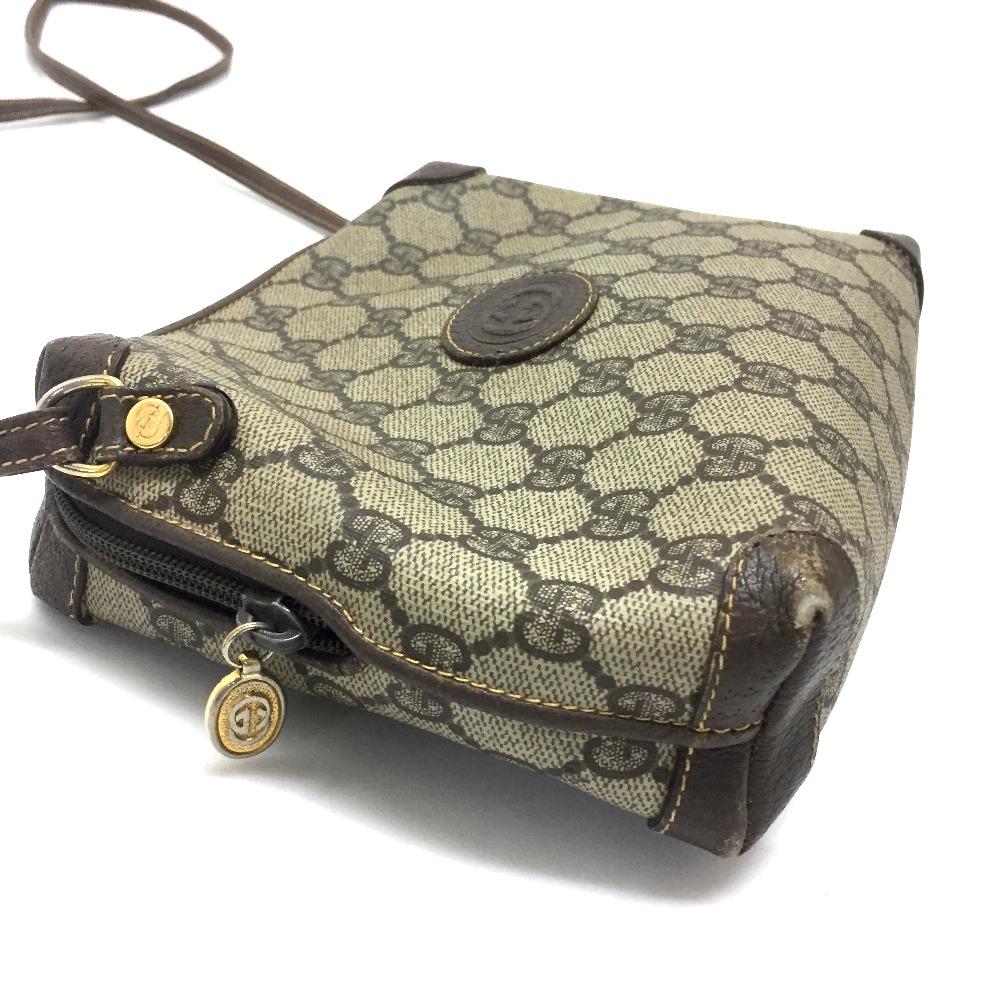 a626d9e91d5 AUTHENTIC GUCCI Old Gucci Sherry Line GG Plus Pochette Shoulder Bag Beige Brown  PVC x Leather 007・58・0093
