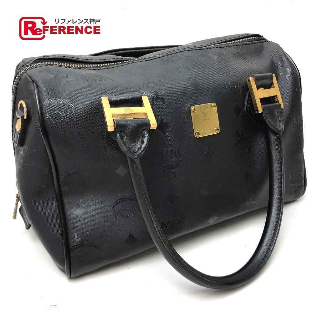 9244e2076 AUTHENTIC MCM Logo Plate Logogram Mini Duffle Bag Hand Bag Black PVC x  Leather/ ...