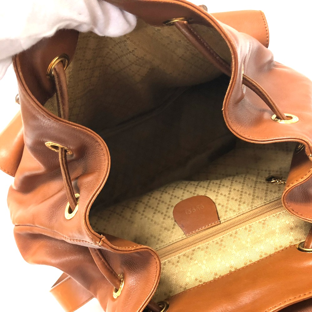 44fc2a7e30b761 AUTHENTIC GUCCI Bamboo Old Gucci Backpack bag Backpack-Bag Brown Leather/