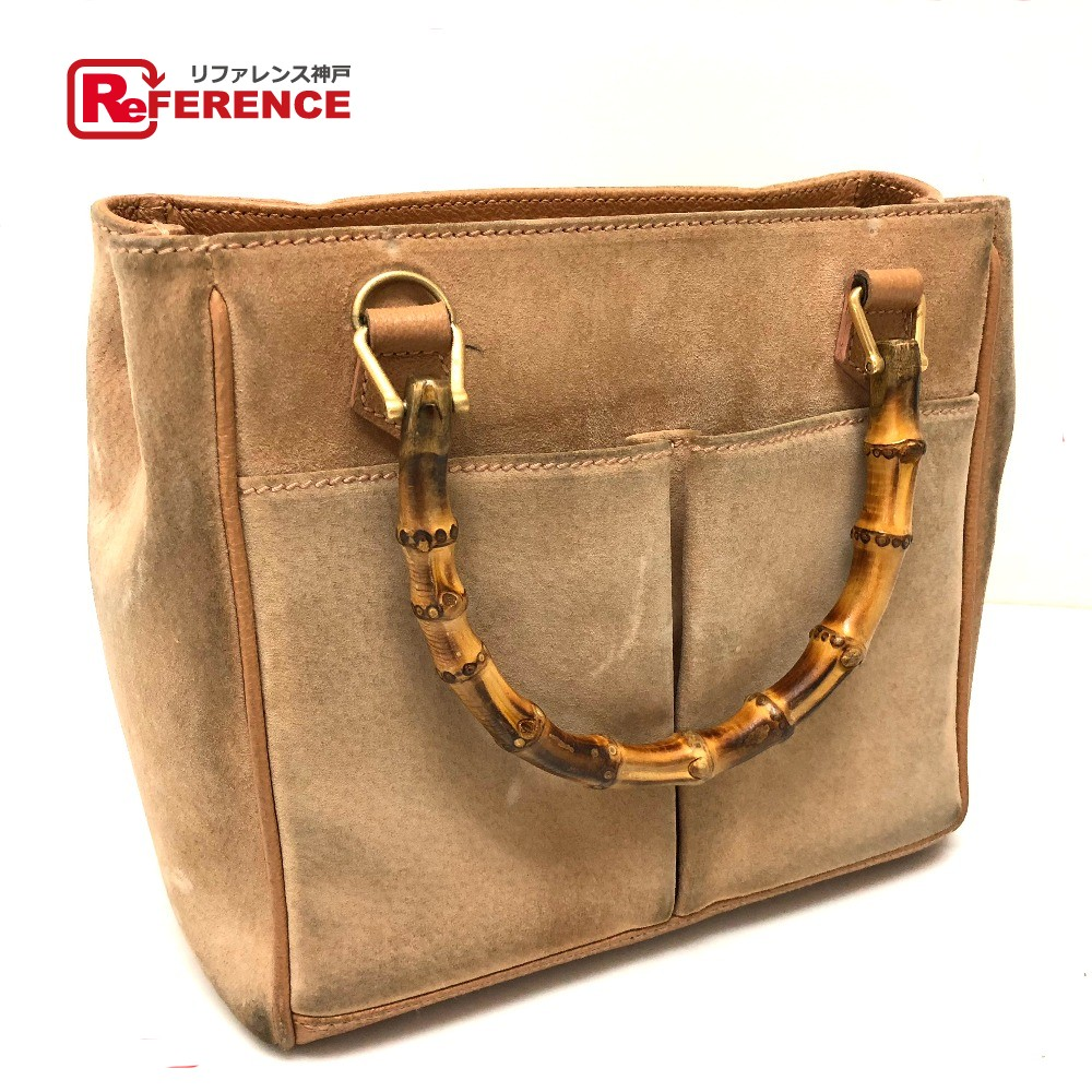 1ff8db681e18e2 AUTHENTIC GUCCI Bamboo Old Gucci Hand Bag BeigeBased Suede x Leather/ ...