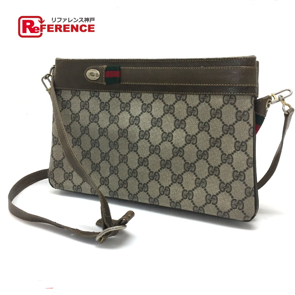 baae2d710b9 BRANDSHOP REFERENCE  AUTHENTIC GUCCI Old Gucci Sherry Line GG Plus Pochette  Shoulder Bag Beige PVC x Leather 001・963・520