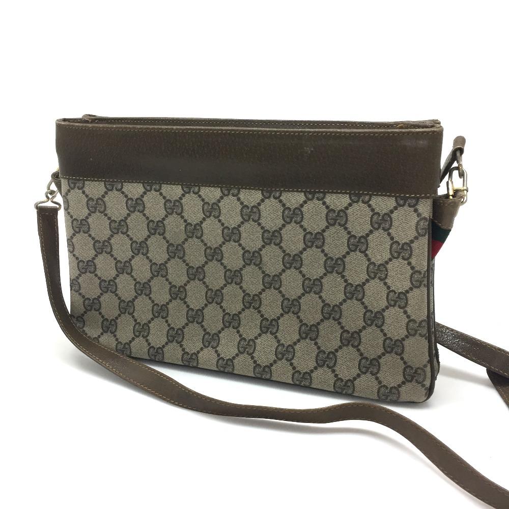cb3022c12f6 AUTHENTIC GUCCI Old Gucci Sherry Line GG Plus Pochette Shoulder Bag Beige  PVC x Leather 001・963・520