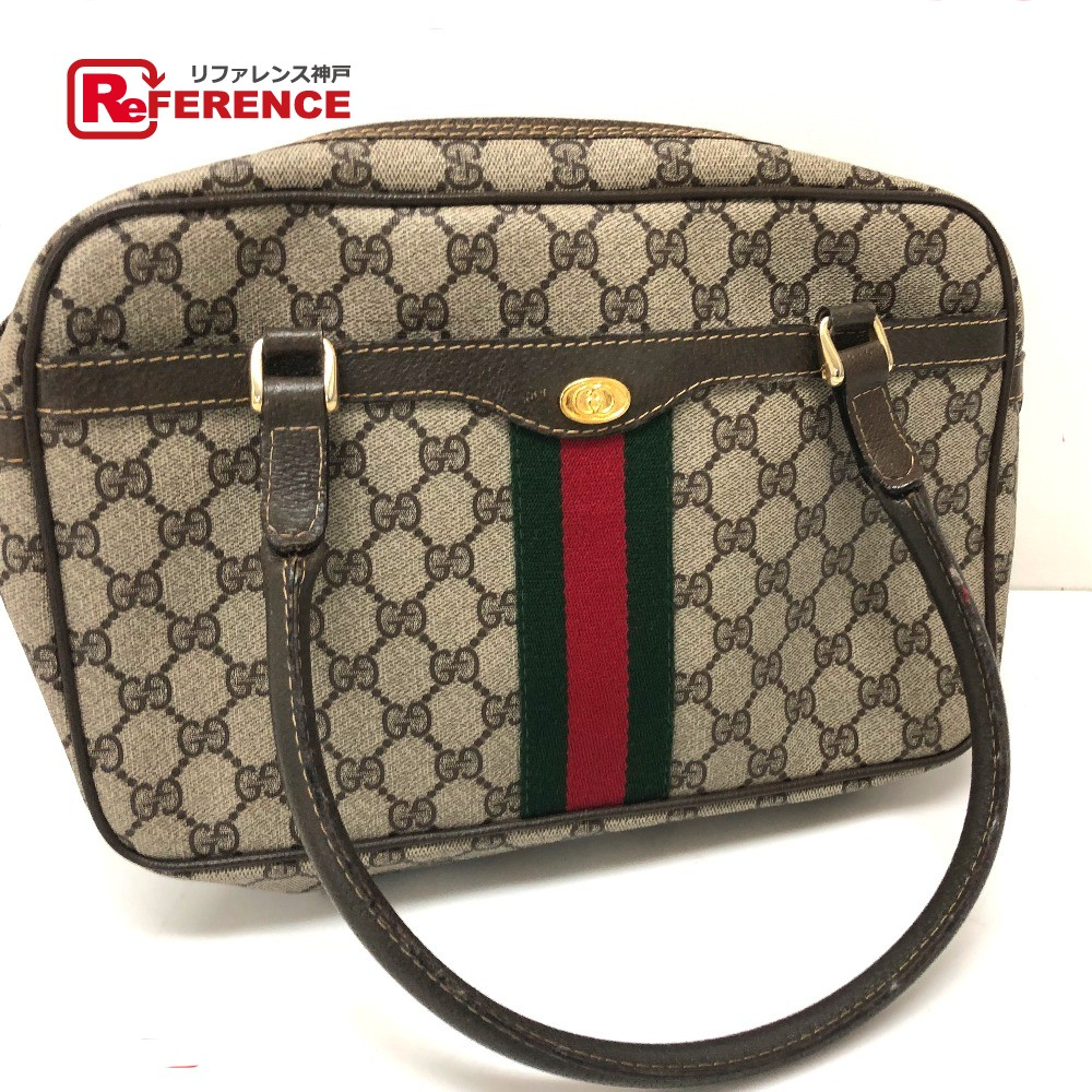 8df44dedf88 AUTHENTIC GUCCI Sherry Line GG Plus Old Gucci Tote Bag Hand Bag Beige PVC x  Leather  378・002・4471
