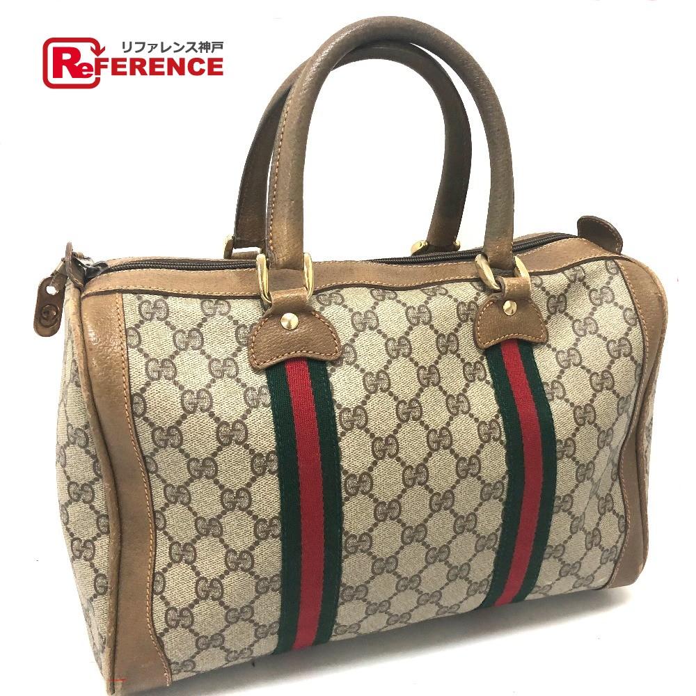b9d1793b28d5 AUTHENTIC GUCCI Old Gucci Shelley Line GG Plus Men's Women's Mini Duffle Bag  Hand Bag Beige ...