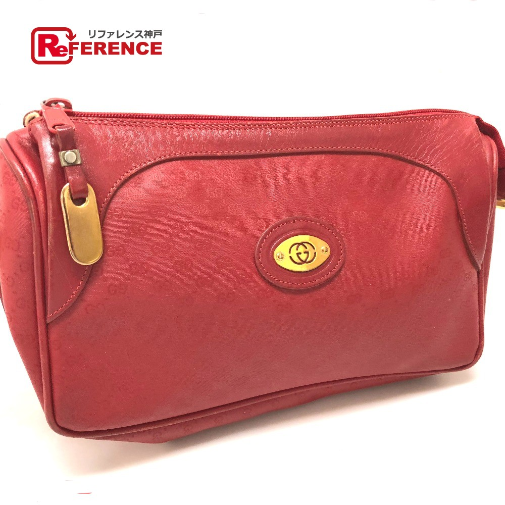 949404279 AUTHENTIC GUCCI Old Gucci Micro GG Pochette Shoulder Bag Red PVC x Leather  001・58 ...