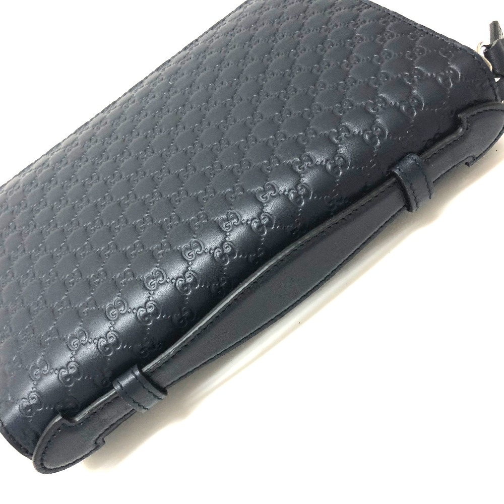 ac173f5ca ... AUTHENTIC GUCCI Unused Micro Guccissima Hand Bag Travel Case Wallet  Cluch Bag Navy Leather/ 449246 ...