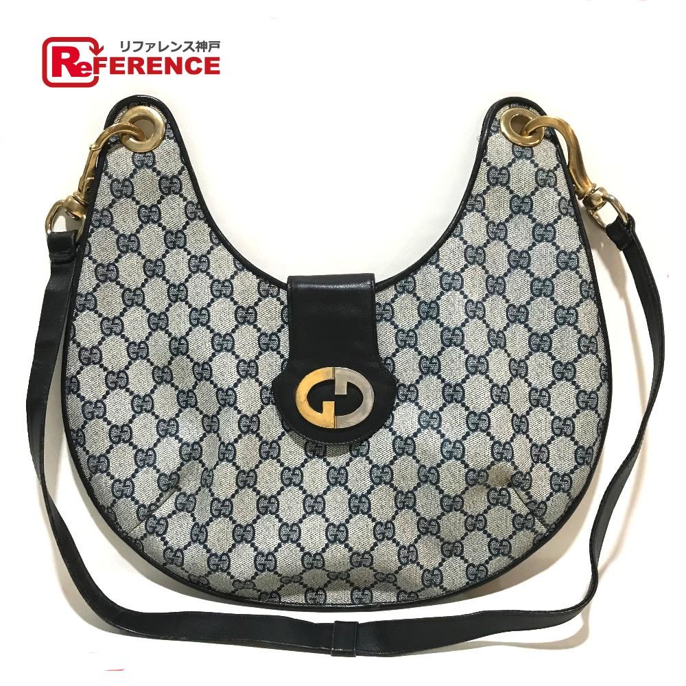 ae466c5ab AUTHENTIC GUCCI Old Gucci GG Plus Crossbody Shoulder Bag Beige x navy PVC x  Leather 型番 ...