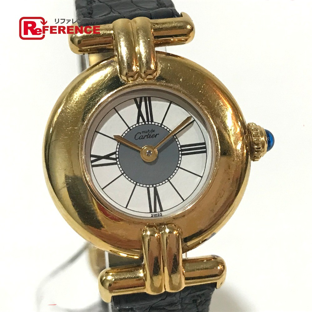 CARTIER カルティエ ゴールド CARTIER レディース 腕時計 マストコリゼ ヴェルメイユ 腕時計 ヴェルメイユ SV925/革ベルト ゴールド レディース【中古】, 竹徳かまぼこ 新潟海老しんじょう:b19e2b07 --- kutter.pl