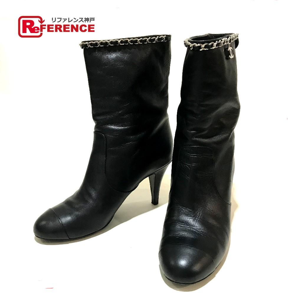 CHANEL シャネル G27249 ショートブーツ チェーンデザイン 靴 CCチャーム ブーツ レザー ブラック レディース【中古】