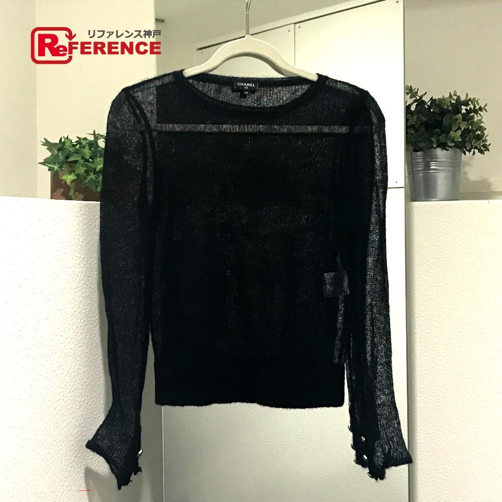 CHANEL シャネル アパレル シースルー モヘア 18A セーター ブラック レディース【中古】