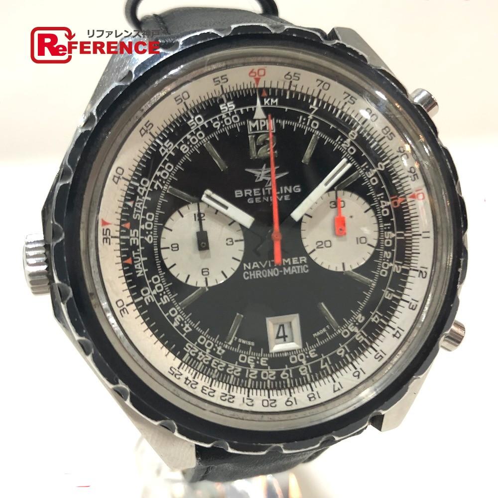 BREITLING ブライトリング 1806 メンズウォッチ 時計 アンティーク クロノマチック デイト ナビタイマー Cal.11 腕時計 SS/革ベルト シルバー メンズ【中古】