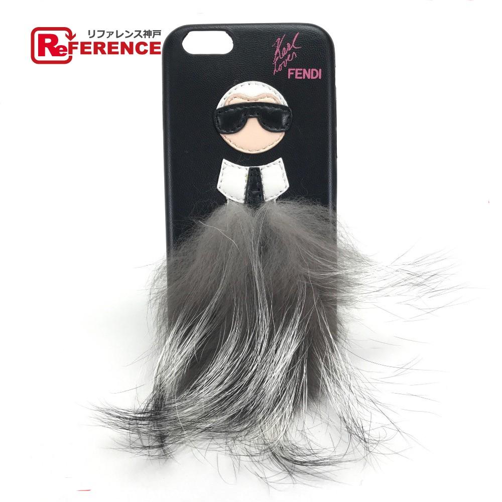 FENDI フェンディ 7AR430 iphone6・6s 対応 iPhoneケース カバー カールラガーフェルド iPhoneケース レザー/ オニキス レディース【中古】