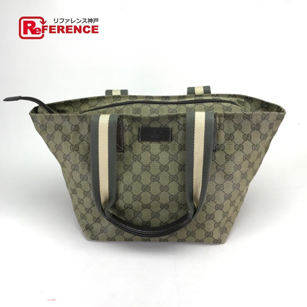 131230 gucci gucci 131230 tote bag sherry line men gap dis shoulder bag canvas x  leather / khaki system lady's
