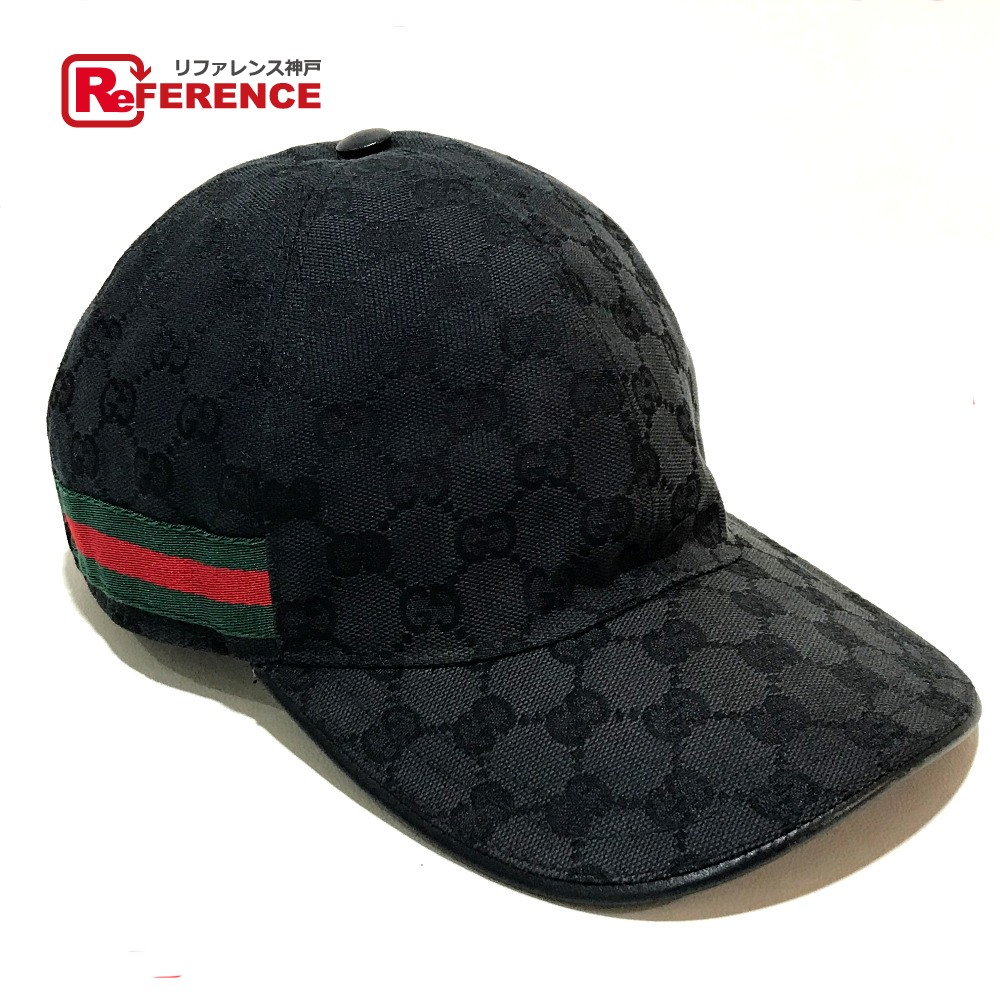 23918625 AUTHENTIC GUCCI With tag Sherry line Baseball Cap Hat hat Black GGCanvas  200035 ...