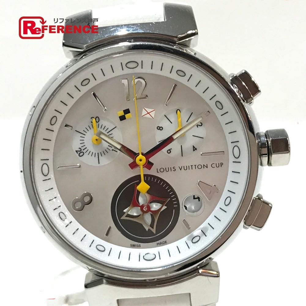 LOUIS VUITTON ルイ・ヴィトン Q132C タンブール ラブリーカップMM クロノグラフ レディース腕時計  腕時計 SS×革ベルト ホワイト レディース【中古】