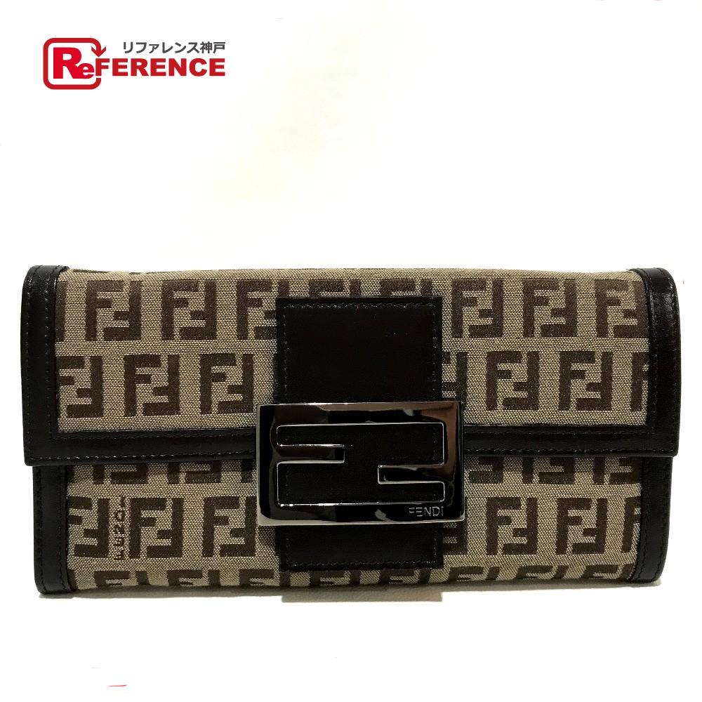 FENDI フェンディ 8M0021 長財布 フラップ ズッカ柄 二つ折り財布(小銭入れあり) キャンバス×レザー ベージュ系×ダークブラウン レディース【中古】