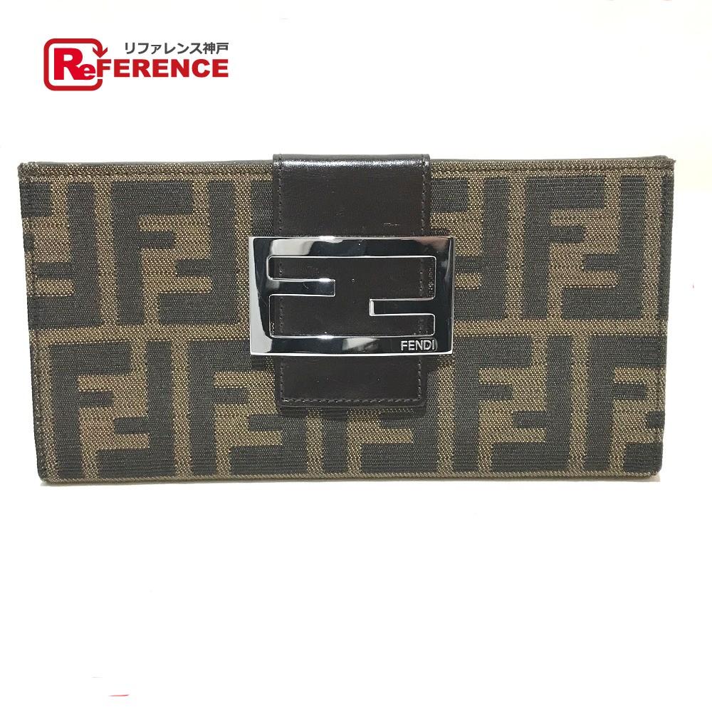 FENDI フェンディ 2400.31133 Wホック 二つ折り長財布 ズッカ柄 長財布(小銭入れあり) キャンバス×レザー ブラウン×ブラック レディース【中古】