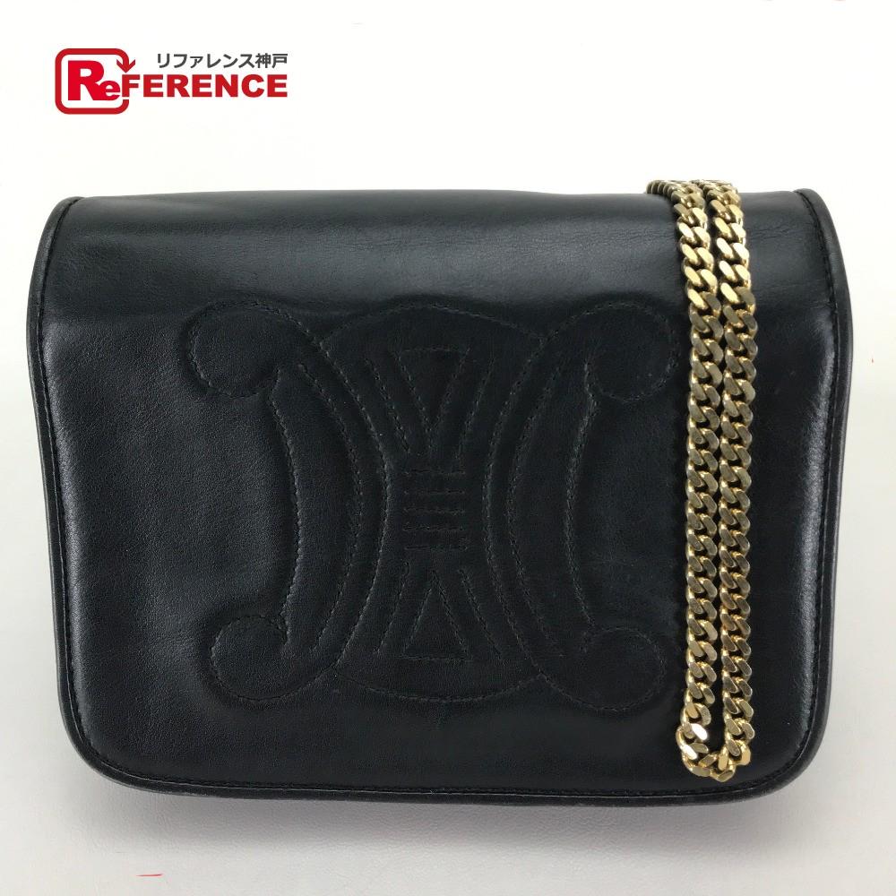 AUTHENTIC CELINE vintage Big Logo Chain bag Pochette Shoulder Bag Black  Leather  1ad4984d91958
