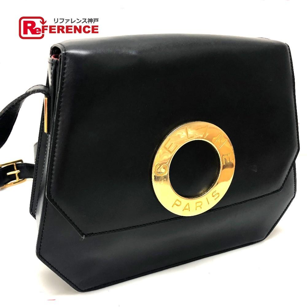 c2dd012b5b17 AUTHENTIC CELINE Logo Ring Hardware Vintage Shoulder Bag Black Leather