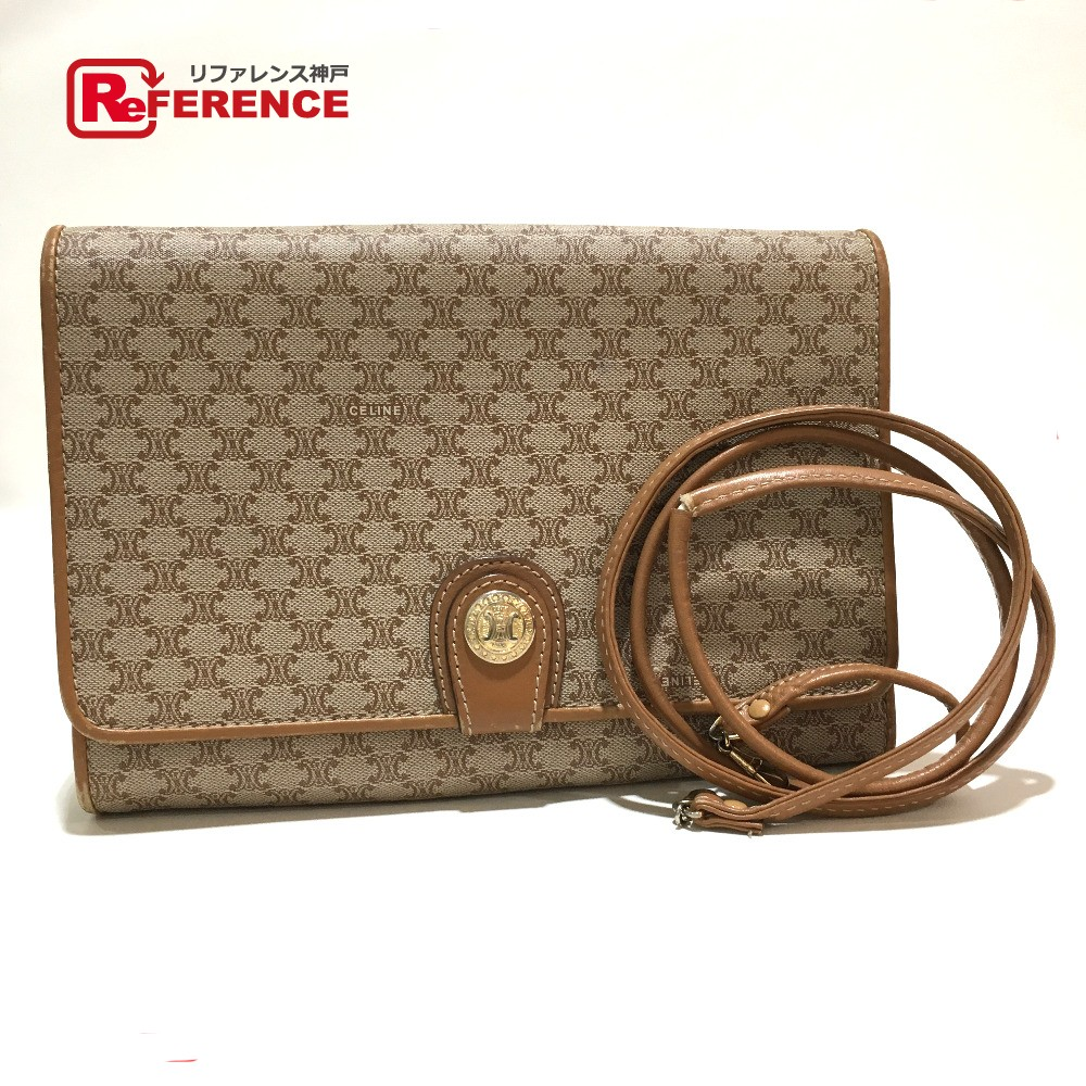 2338ec7e0a BRANDSHOP REFERENCE  AUTHENTIC CELINE vintage Macadam 2 WAY Shoulder Bag  Cluch Bag Beige x Brown PVC x Leather