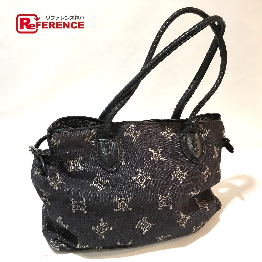 BRANDSHOP REFERENCE  AUTHENTIC CELINE vintage Macadam Tote Bag Black  Denim Leather  97bc554f6458d