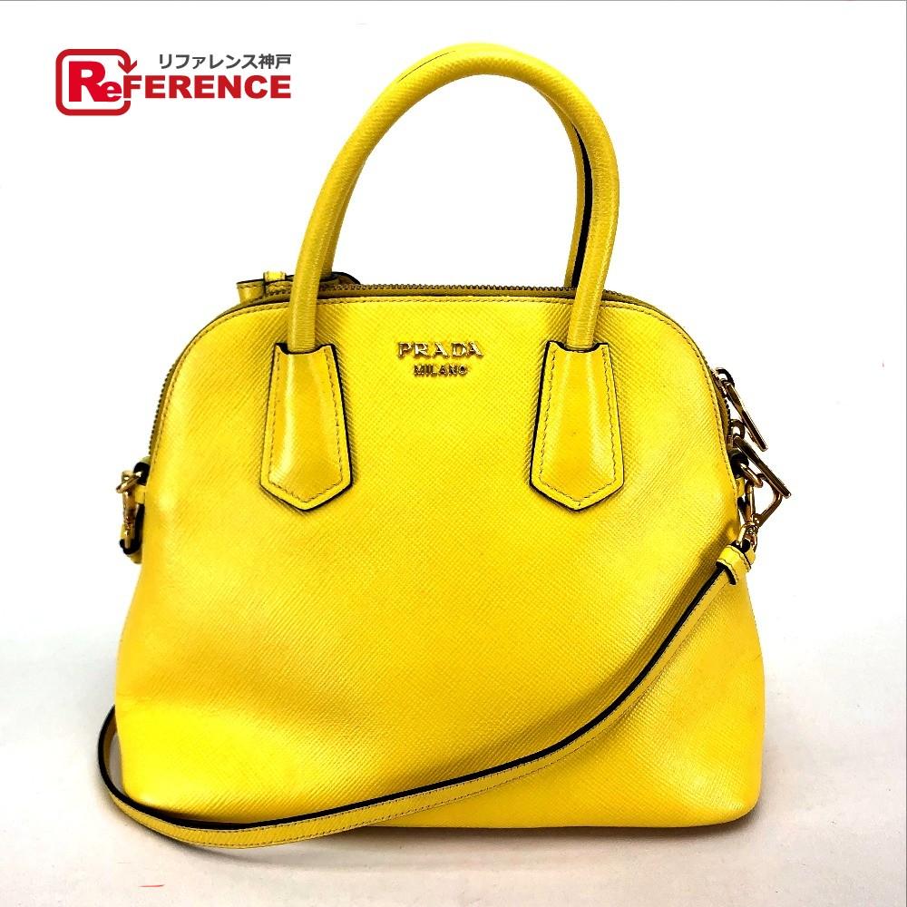 31eebd14e0c9f6 AUTHENTIC PRADA 2 WAY Shoulder Bag Hand Bag yellow Leather BL0902 ...