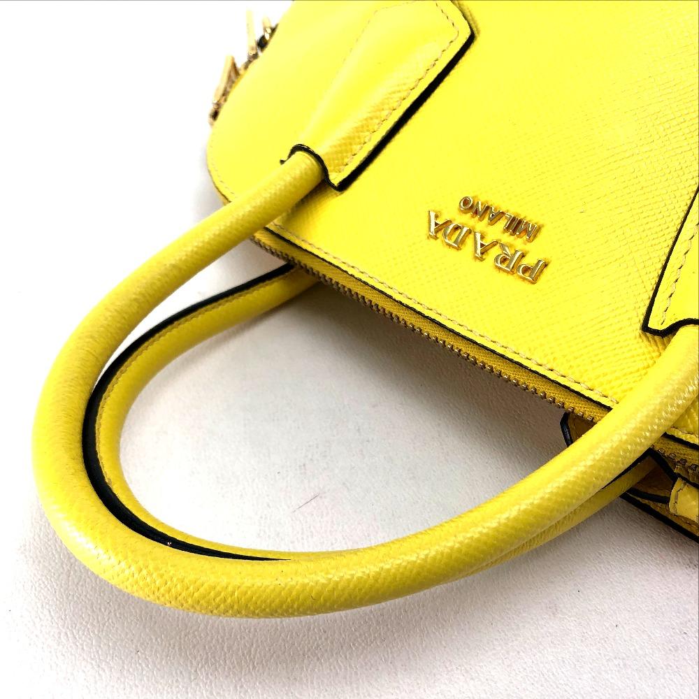 a65b1c40e62b4c ... AUTHENTIC PRADA 2 WAY Shoulder Bag Hand Bag yellow Leather BL0902 ...