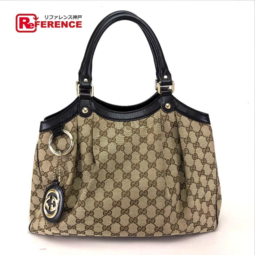 e4fed2ddc AUTHENTIC GUCCI GG Sukey Tote Bag Shoulder Bag Brown/Beige  GGCanvasxLeather/ 211944 ...