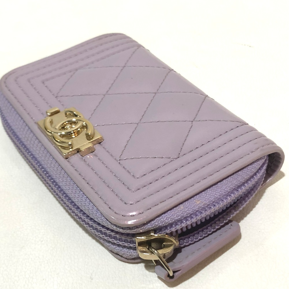 5eadce83e7e83d ... CHANEL Chanel A80602 boy Chanel coin purse wallet matelasse CC coin  case patent leather purple X ...