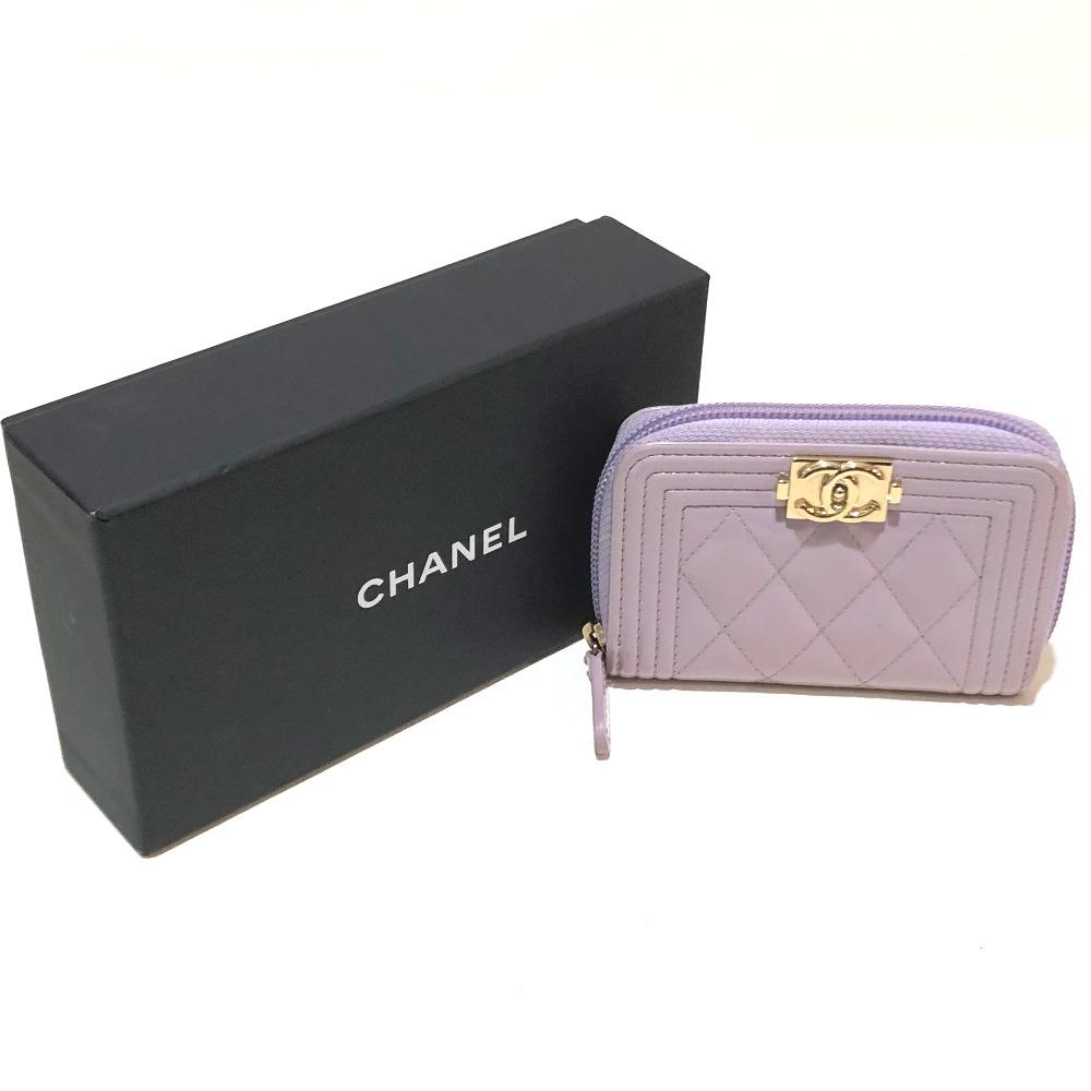 b05500373ce79c ... CHANEL Chanel A80602 boy Chanel coin purse wallet matelasse CC coin  case patent leather purple X