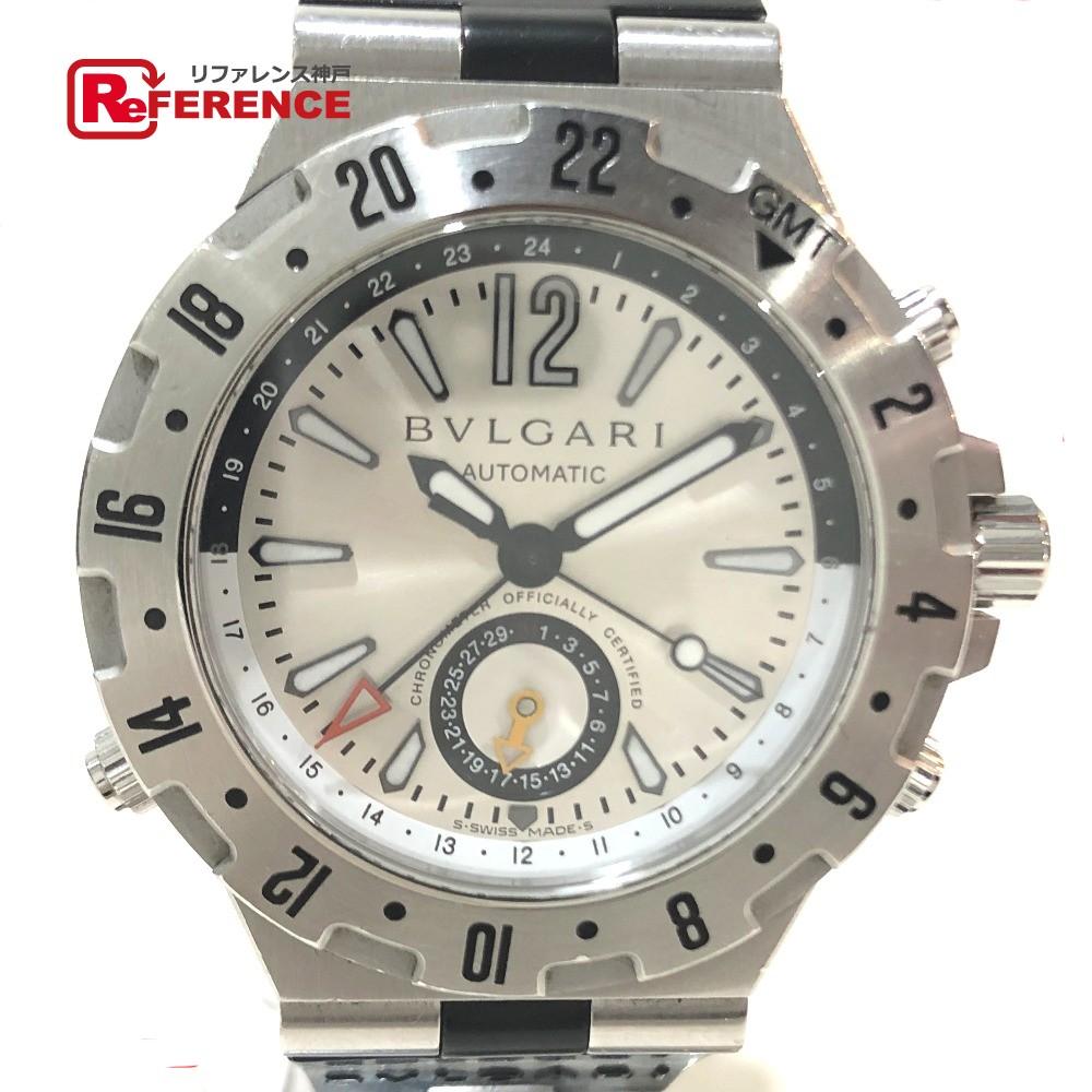 BVLGARI ブルガリ GMT40S プロフェッショナル エア ディアゴノ GMT(3タイムゾーン) 腕時計 SS/ラバー シルバー メンズ【中古】
