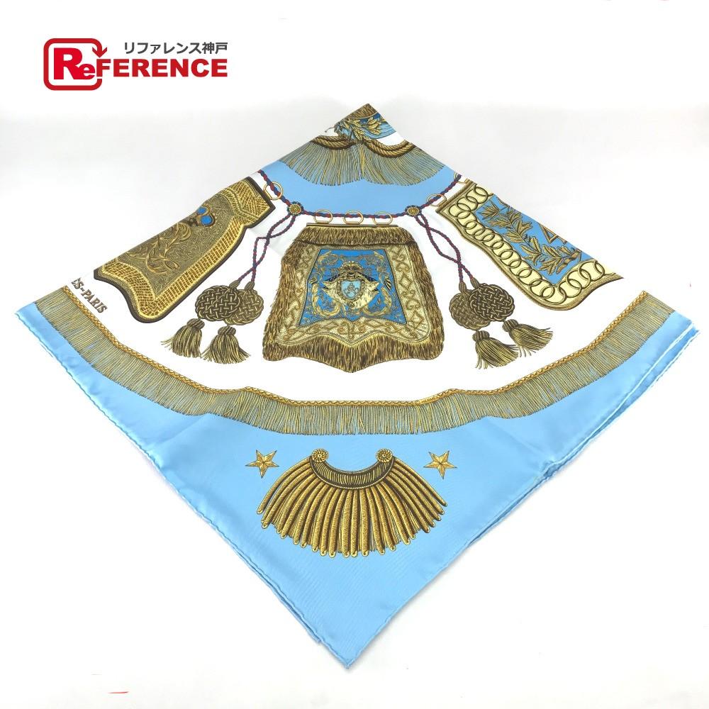HERMES エルメス カレ Poste et Cavalerie (サーベル飾り袋) スカーフ シルク/ ライトブルー系 レディース【中古】