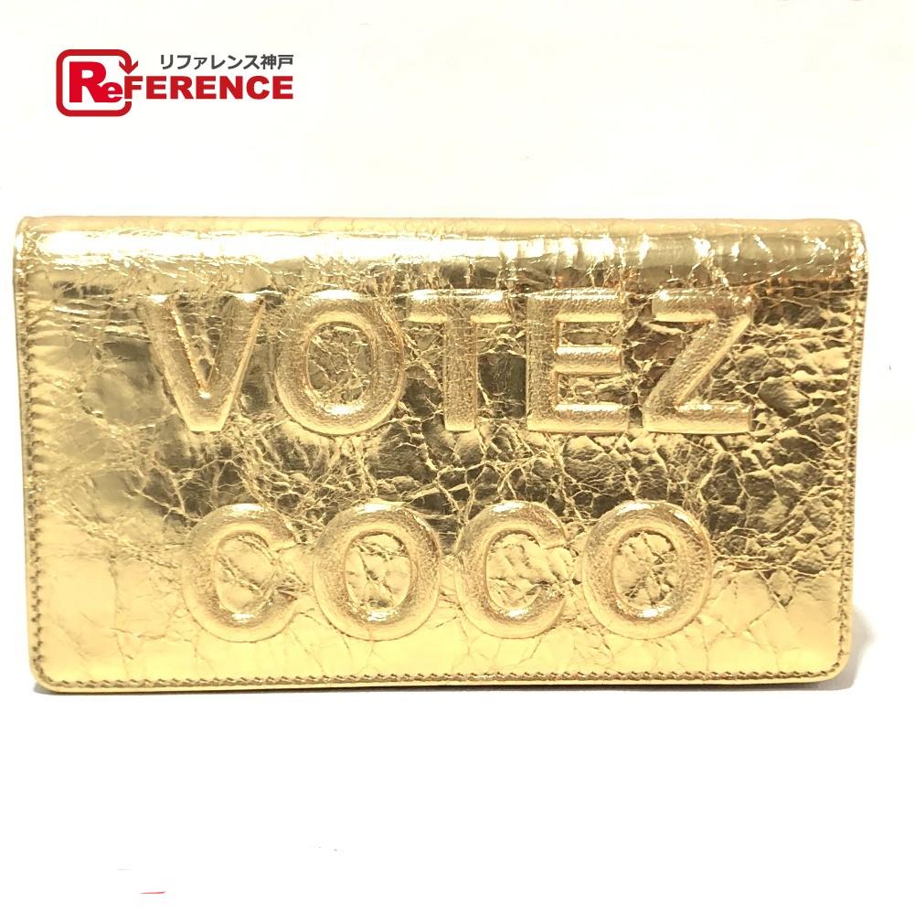 CHANEL シャネル A82184 長財布 ロゴエンボス ヴィンテージシワ加工 VOTEZ COCO 二つ折り財布(小銭入れあり) レザー レディース 未使用【中古】