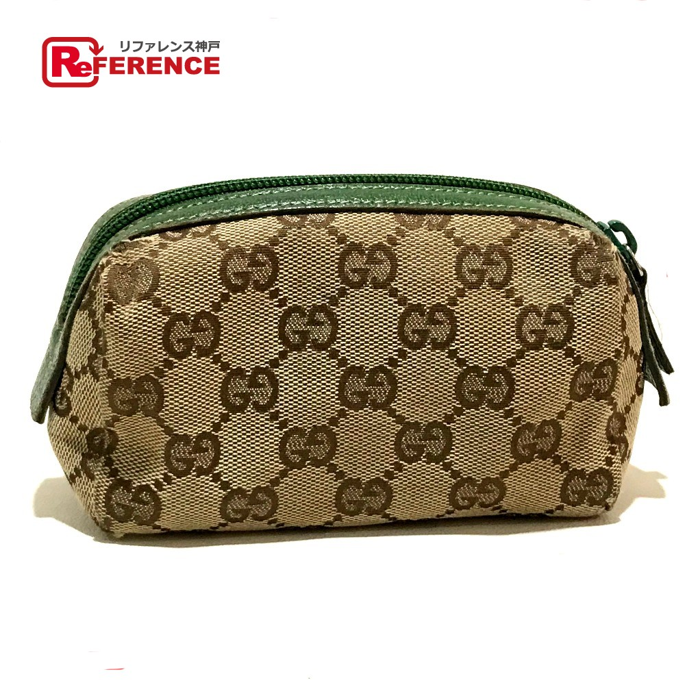 eb2cffbaf AUTHENTIC GUCCI Pouch Women's Accessories Cosmetic pouch Cosmetics Pouch  Beige x Green 29596 ...