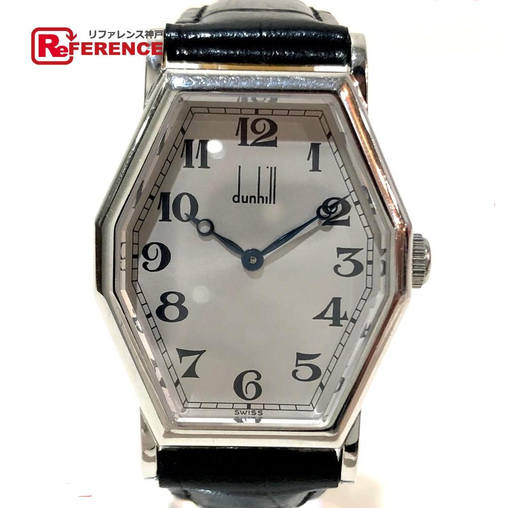 bf60318f9bb1 レディース【中古】 Dunhill ダンヒル センテナリーコレクション 100周年記念復刻版 レア物 オクタゴナル 腕時計 SS×革ベルト  シルバー×ブラック ロレックス ROLEX ...