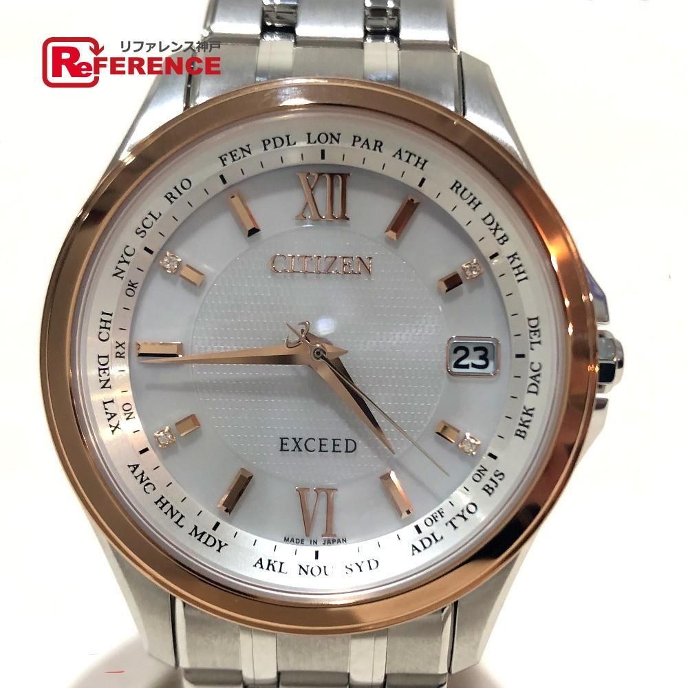 CITIZEN シチズン CB1086-56A エクシード スーパーチタニウム(デュラテクト) エコ・ドライブ デイト 腕時計 チタニウム シルバー×ゴールド/シェル文字盤 メンズ 新品同様【中古】