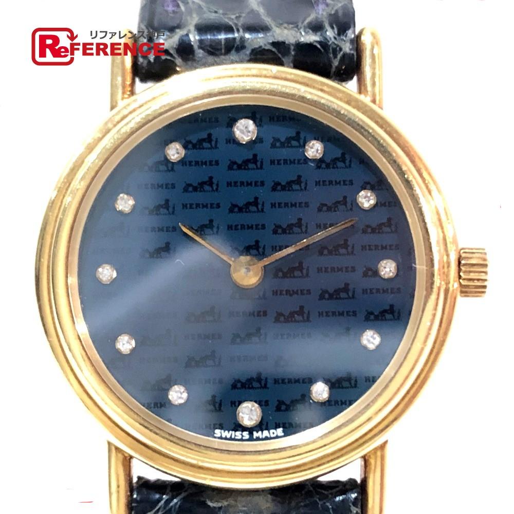 HERMES エルメス 12Pダイヤ 限定モデル レディース腕時計 ロゴ文字盤 腕時計 K18YG/ イエローゴールド×ブラック レディース【中古】