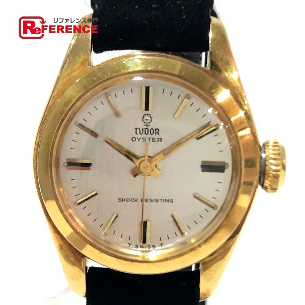 TUDOR チュードル 7805 オイスター SHOCK RESISTING レディース腕時計 腕時計 GP/革ベルト ゴールド×ブラック レディース【中古】