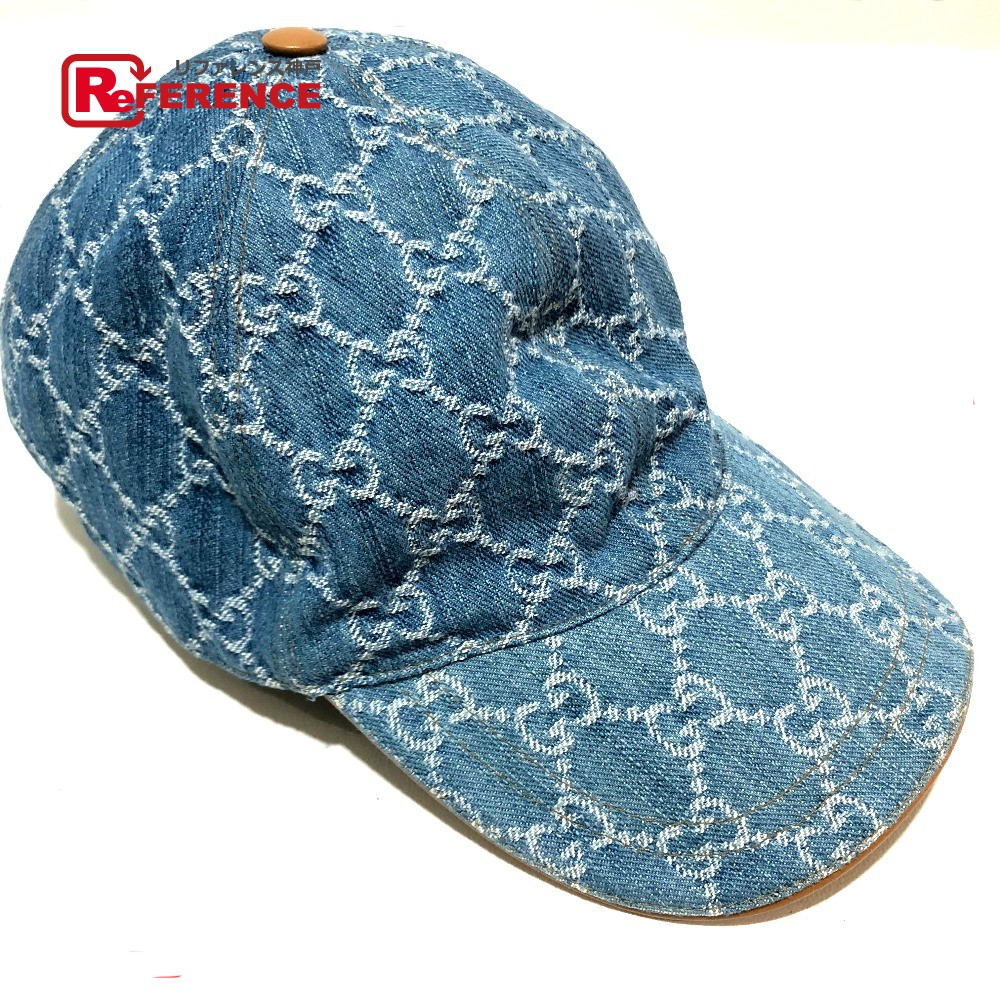 e946a08f069 GUCCI Gucci 200043 baseball cap hat tag existence GG denim hat GG canvas  blue system Lady s