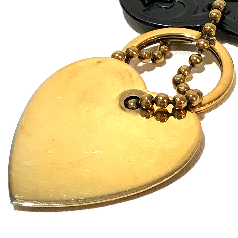 d8b9071d1 ... AUTHENTIC GUCCI Key ring Crest Heart Motif Bag Charm Key Holder Gold/Black  Gold Plated ...