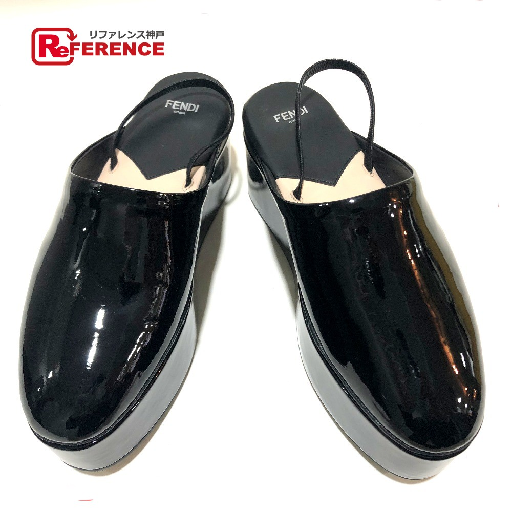 FENDI フェンディ バブーシュ 厚底 靴 サンダル パテントレザー ブラック レディース 未使用【中古】