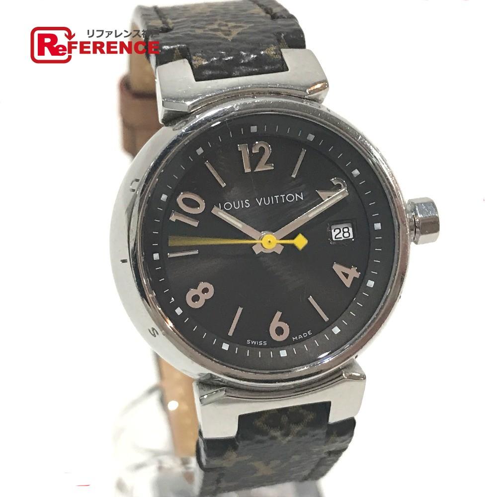 LOUIS VUITTON ルイ・ヴィトン Q1211 レディース腕時計 タンブール デイト モノグラムベルト 腕時計 SS/革ベルト シルバー レディース【中古】
