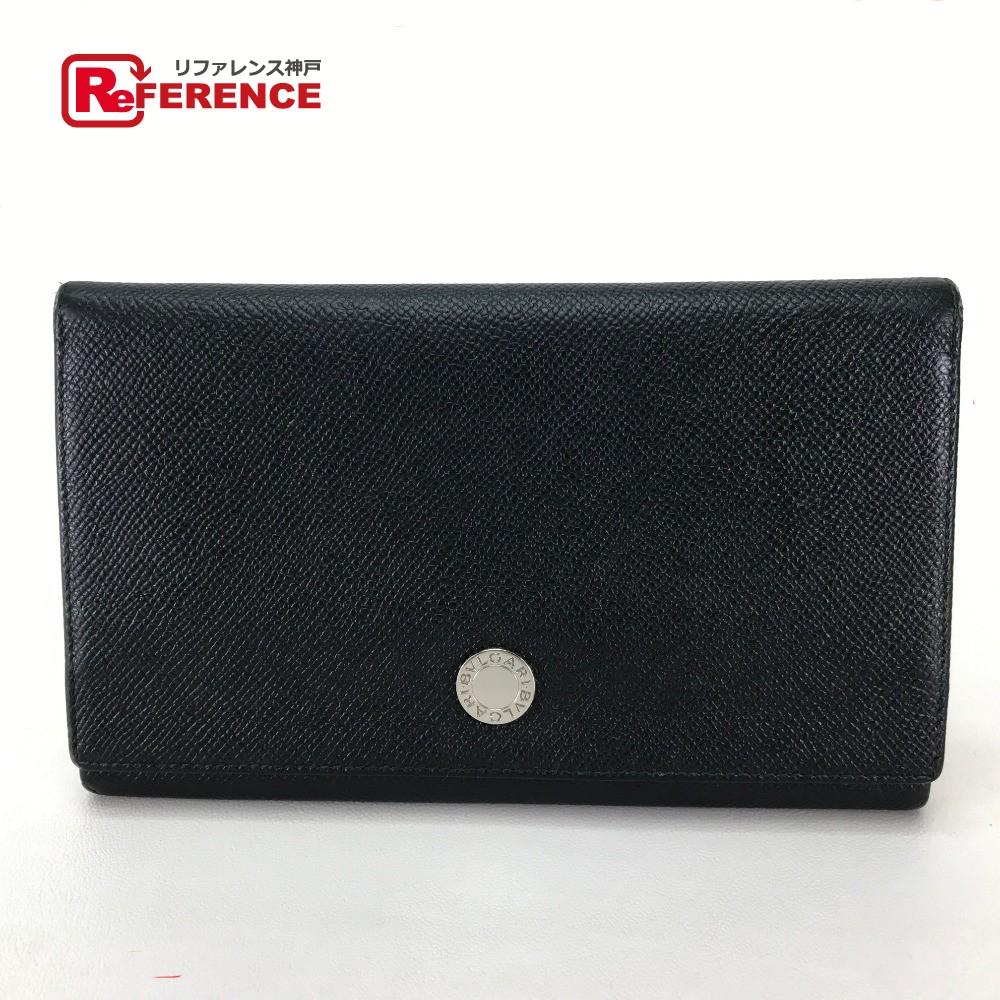 BVLGARI ブルガリ 2つ折り長財布  ブルガリブルガリ レディース メンズ 長財布(小銭入れあり) レザー ブラック レディース【中古】