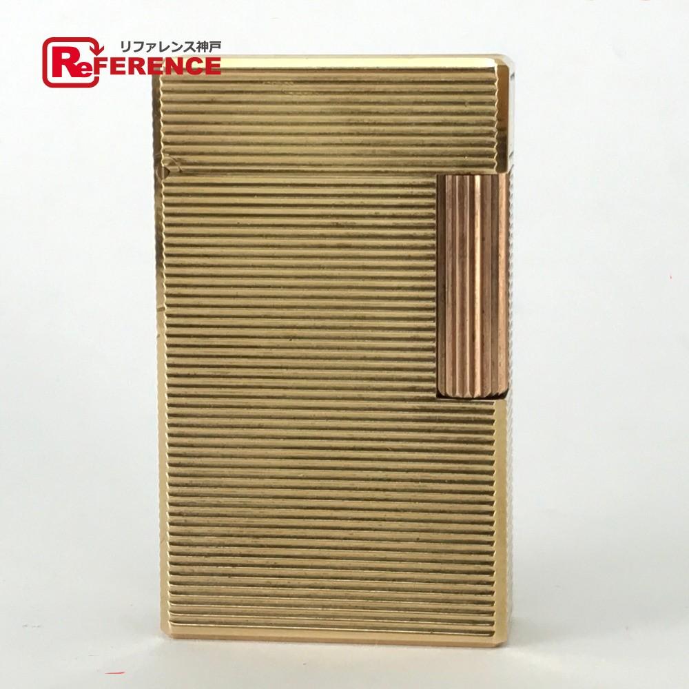 S.T.Dupont エス・テー・デュポン 喫煙具 ライン1L  20M金張り ライター 真鍮/ ゴールド メンズ【中古】