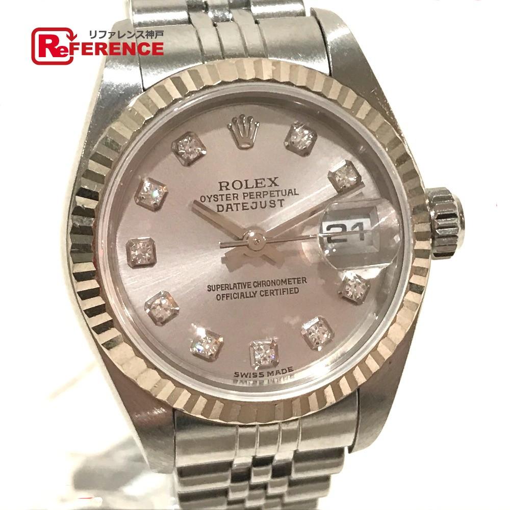 ROLEX ロレックス 79174G レディース腕時計 デイトジャスト オイスターパーペチュアル 10Pダイヤ デイト 腕時計 K18WG/SS ホワイトゴールド レディース【中古】